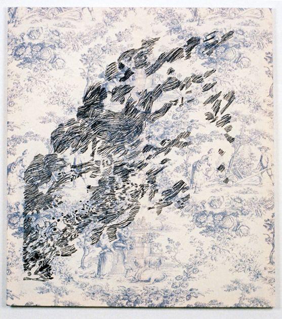"""""""Nebel"""" Embroidery on Toile de Jouy"""