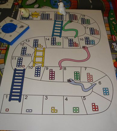 The usual 1-100 snakes and ladders takes too long to play for my three ...www.numicon.com  DIY board game