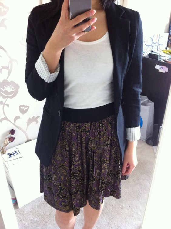 altered floral skirt outfit with black blazer and white t-shirt