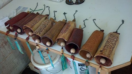 Bill's bells for Skyfire gallery in Jerome, Arizona. EarthWind Stoneware garden bells.