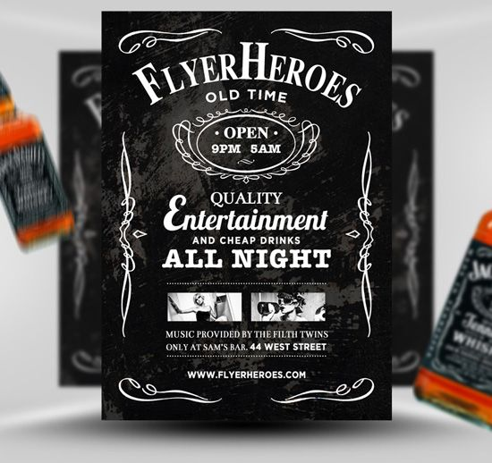Free Whiskey Flyer Template Inspired By Jack Daniels Flyer Template Psd Flyer Templates Free Flyer Templates
