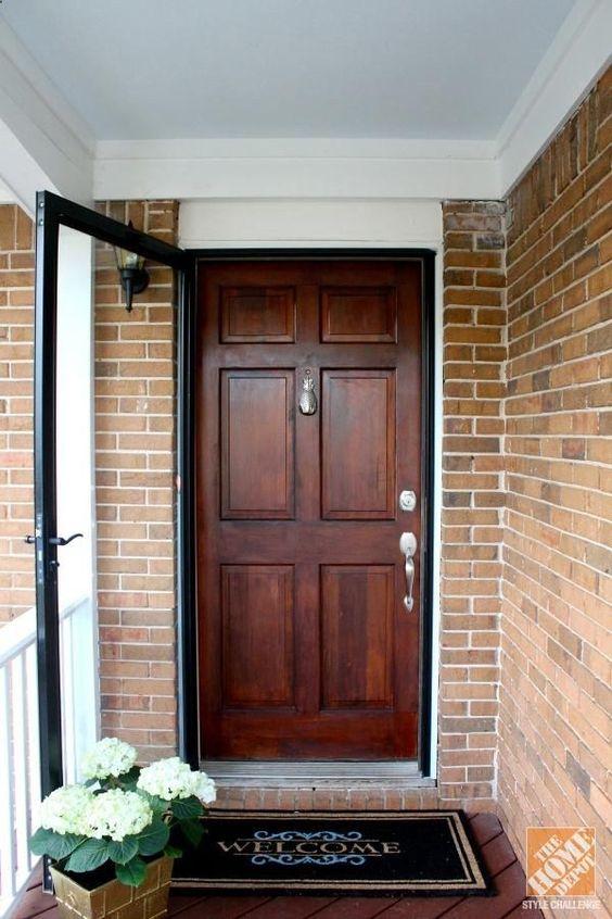 Wooden front door color plus storm door for Wood front door with storm door