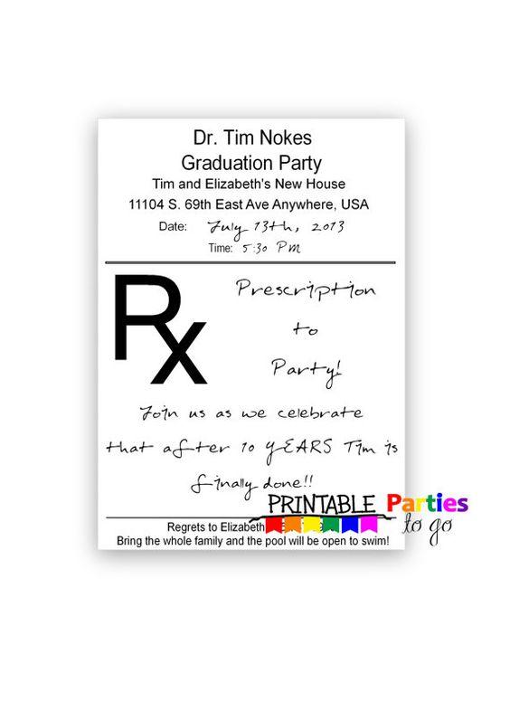 Prescription Pad Printable 5x7 Invitations by PrintablePartiestoGo ...