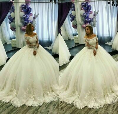 Bateau Applique Ball Gown Wedding Dress Long Sleeves Sweetheart Bridal Gowns Ebay Ball Gowns Wedding Wedding Dresses Corset Ball Gowns