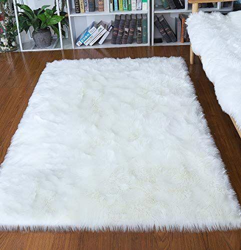 Junovo Ultra Soft Thick Fluffy Faux Sheepskin Area Rug White Fur Rug For Living Room Bedroom Dormitory H Fur Rug Living Room White Fur Rug Rugs In Living Room