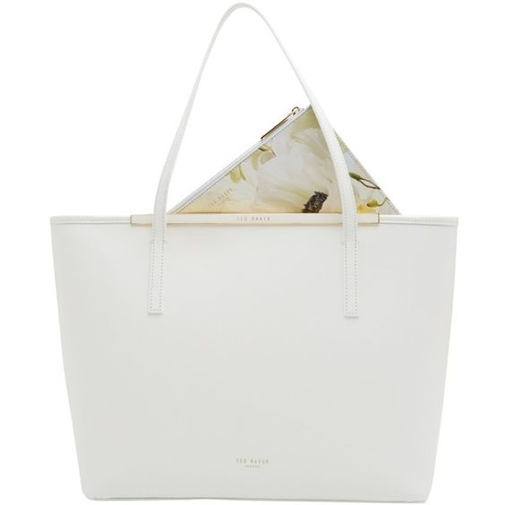 Ted Baker Arena Crosshatch Leather Shopper Bag, White ($245) ❤ liked on Polyvore featuring bags, handbags, tote bags, leather tote, leather handbags, purse pouch, shopping tote and leather tote bags
