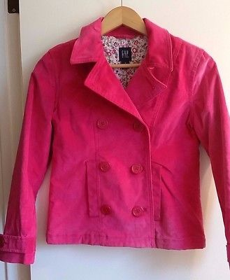 Gap Kids Girl's Pink Floral Lined Double Breasted Jacket Back to School SZ XL 12