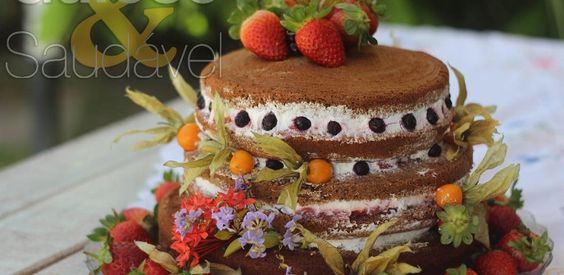 Naked Cake de Chocolate, Sem Glúten e Lactose