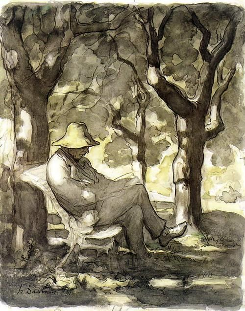 I agree with a previous pinner:  This pulls me in and I am in wonder at what one can do with just water, black and yellow.   Honoré Daumier, A Man Reading in a Garden, c. 1866-68