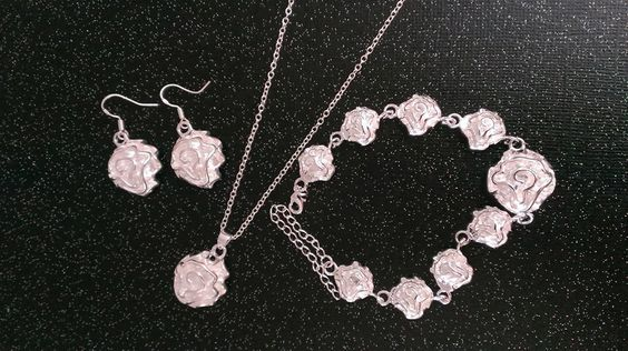 $14.50 - 925 STERLING SILVER PEONY SET - complete set with dangle flower earrings, bracelet and necklace  - 18 inch necklace, chain also sterling ------ONE TIME $2 SHIPPING FEE -- First one to post sold on this item gets it reserved. You do not have to pay until you are done shopping from now ...