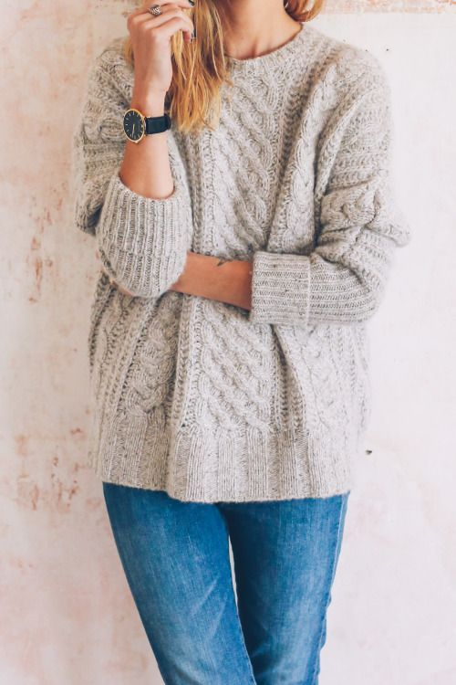 grey cable knit sweater: