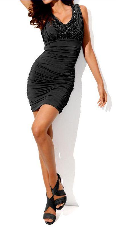 robe de soiree femme mi longue noir avec perles marque heine par robe