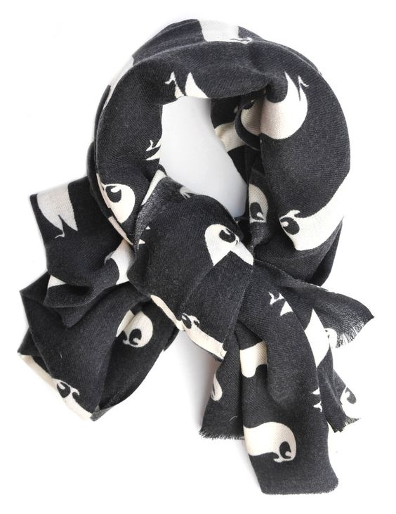 Penguin Print Wool Scarf