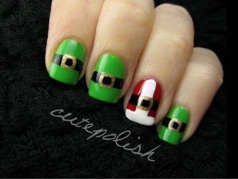 ▶ Santa and Elf Suit Nail Art - YouTube