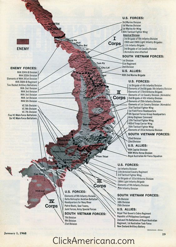 Vietnam war map: Corps to corps (1968) - Click Americana