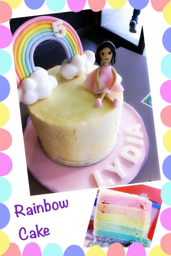 Rainbow cake for kids / little girl - Vanilla layered cake in pastel colors with Swiss meringue buttercream frosting, fondant rainbow and fondant figurine on fondant covered cake board