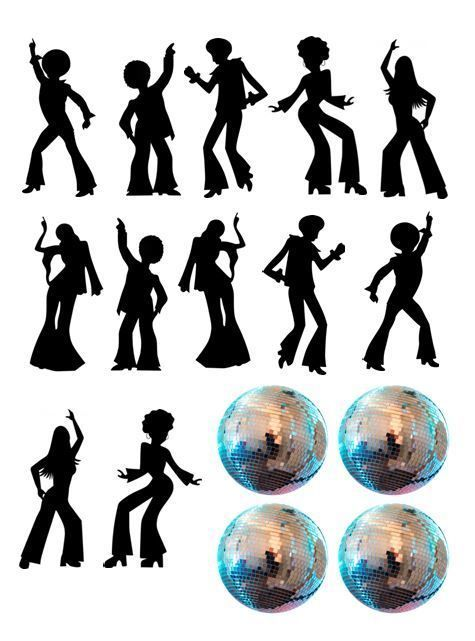 Details about Disco Dance Silhouette and Disco Balls Edible