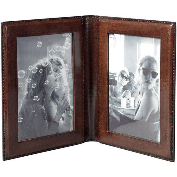 OKA Saddle Leather Travel Frame ($93) ❤ liked on Polyvore featuring ...