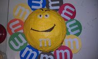 M & M Cake! We used melting chocolate in a ziplock to draw on the face.