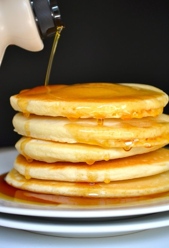 We like our pancakes stacked high and literally swimming in syrup. Get the recipe from Rachel Schultz.   - Delish.com