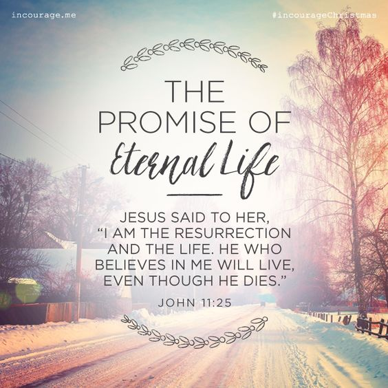 "Day 18- The Promise of Eternal Life // Jesus said to her, ""I am the resurrection and the life. He who believes in Me will live, even though he dies."" {John 11:25} // 25 Days of Christmas Promises #incourageChristmas"