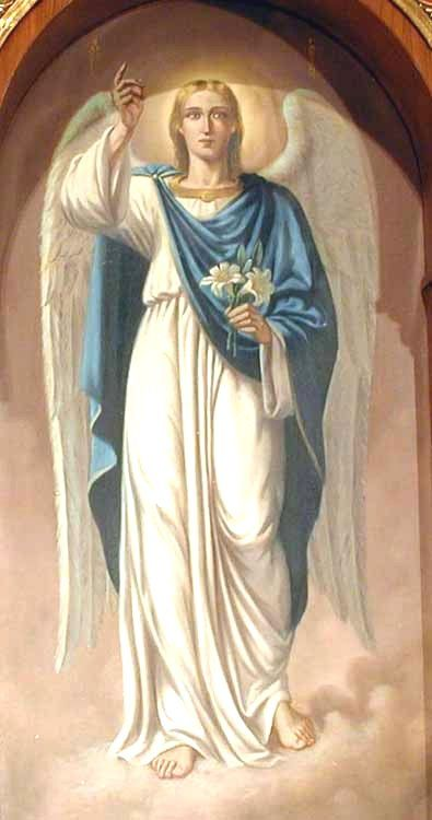 """San Gabriel fue el Arcángel que anunció la el nacimiento de Nuestro Señor Jesucristo.  También se le apareció a Zacarías ,para anunciar el nacimiento de San Juan Bautista, primo de Jesús  .El más grande honor de San Gabriel consistió en ser enviado por Dios a anunciar a la Vírgen María que ella había sido la escogida para ser la madre de Dios.  Gabriel significa """"el Poder de Dios""""."""