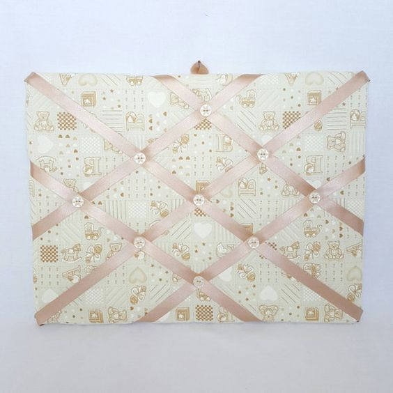 Gorgeous cream new baby memo board. Perfect decoration for the nursery to display special keepsakes https://www.etsy.com/uk/listing/273784276/cream-new-baby-fabric-memo-board-notice