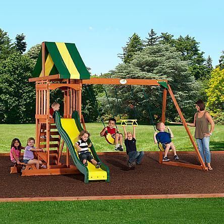 Backyard Discovery Prestige Wood Swing Set 379 99 At Kmart Designed For Small Yards It Packs Hours Of Play With Wooden Swing Set Wood Swing Sets Swing Set