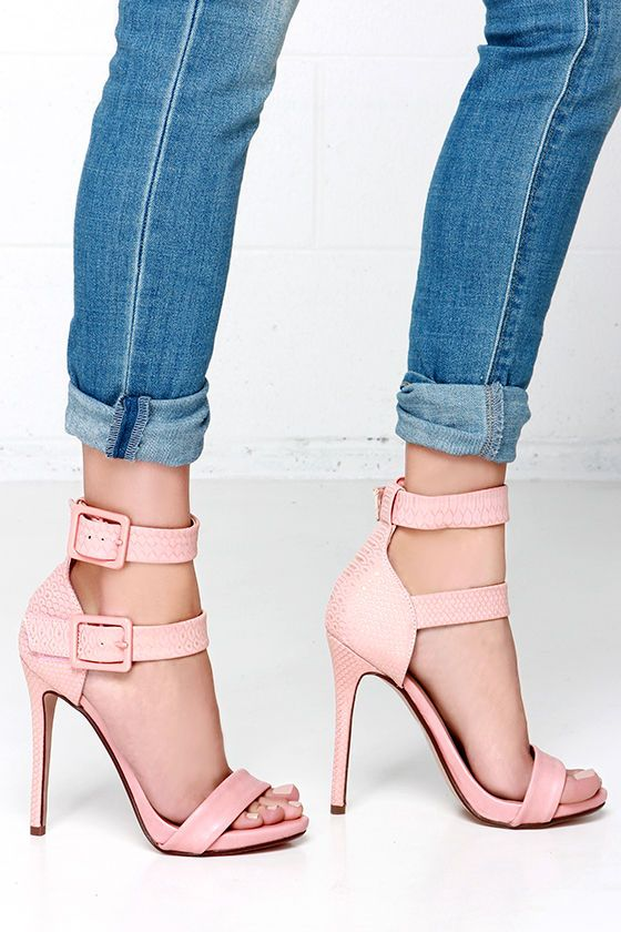 Double Down Salmon Pink Snakeskin Ankle Strap Heels at Lulus.com