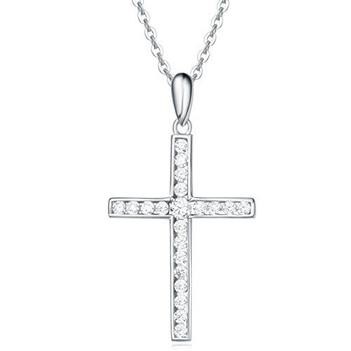 """925 Sterling Silver White Cubic Zircon Small Cross Pendant Necklace 18/"""" Chain"""