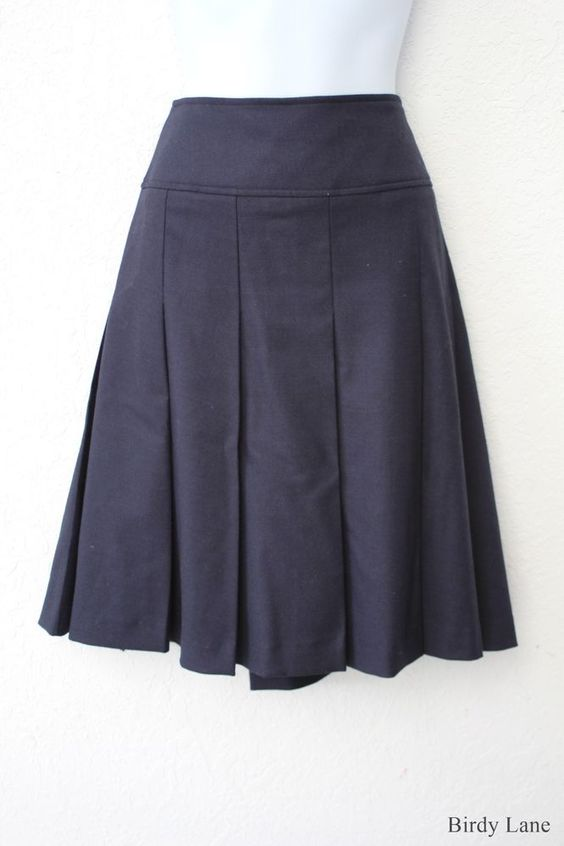 JNY Pleated A-Line Skirt Navy Blue Wide Waistband Knee Length ...