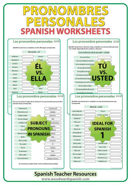 pronombres personales spanish worksheets spanish. Black Bedroom Furniture Sets. Home Design Ideas
