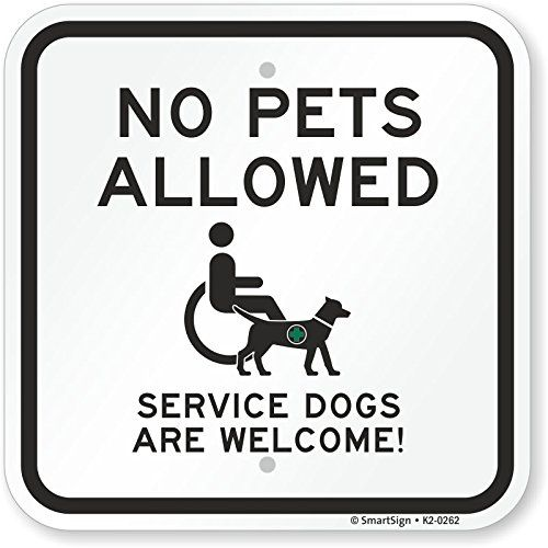 Smartsign By Lyle K2 0262 Al 12x12 No Pets Allowed Service Dogs Are Welcome Aluminum Sign Servicedogs Service Dogs Service Dogs Gear Dog Control