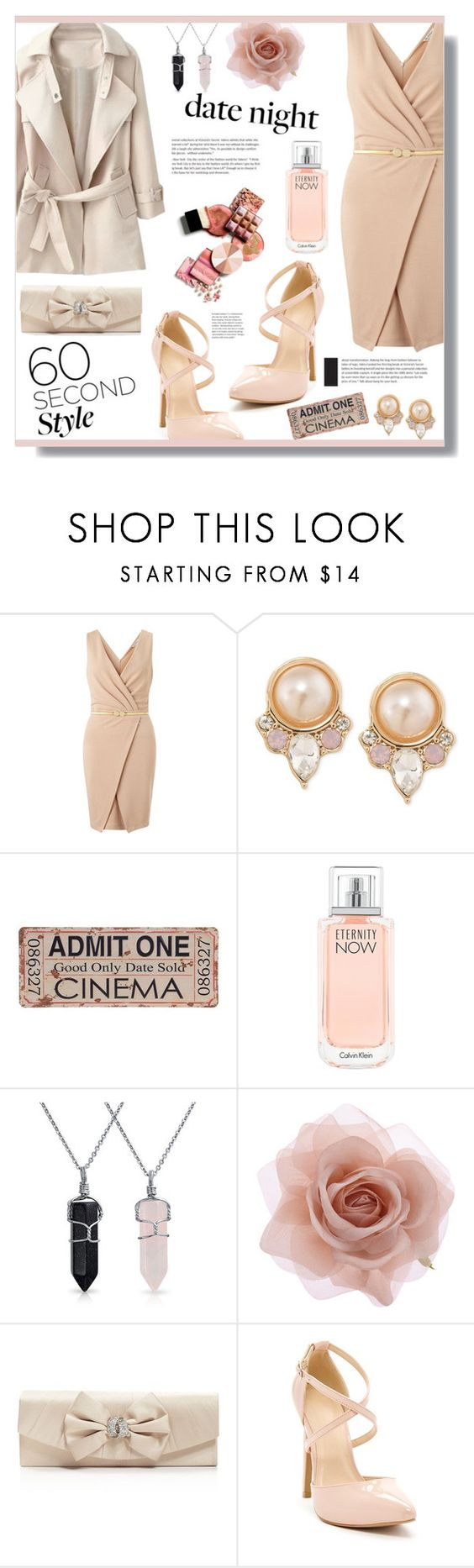 """""""::60 second date night style::"""" by sinesnsingularities ❤ liked on Polyvore featuring Miss Selfridge, Carolee, Calvin Klein, Bling Jewelry, Accessorize, Jessica McClintock, women's clothing, women, female and woman"""