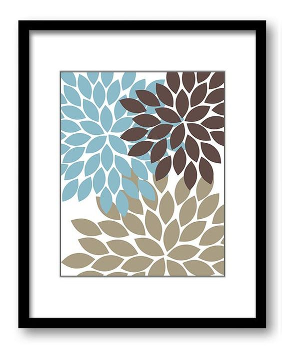 INSTANT DOWNLOAD Flower Print Blue Brown Beige by PrintsWallArt: