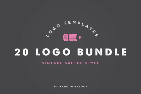 20 x Vintage Logo Templates Bundle