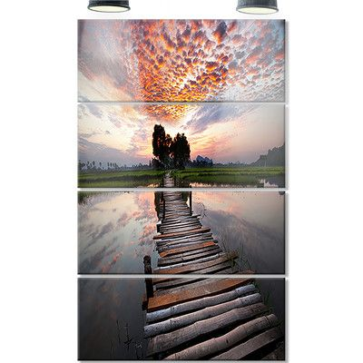 DesignArt 'Wooden Bridge Under Dramatic Sky' 4 Piece Photographic Print on Canvas Set