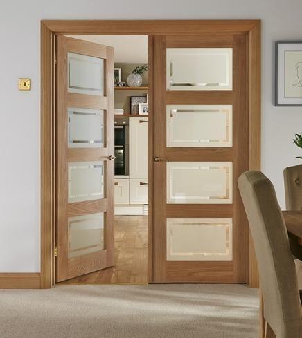 4 Panel Oak Shaker Glazed | Internal Hardwood Doors | Doors & Joinery | Howdens Joinery £105