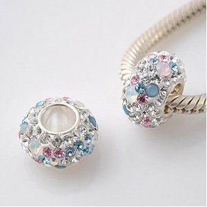 Opal with Pink, White & Blue Swarovski Crystal Charm - Genuine 925 Sterling Silver Core 4.5mm Hole - fists most European bracelets including Pandora, Lovelinks Petite, Biagi & Chamilia