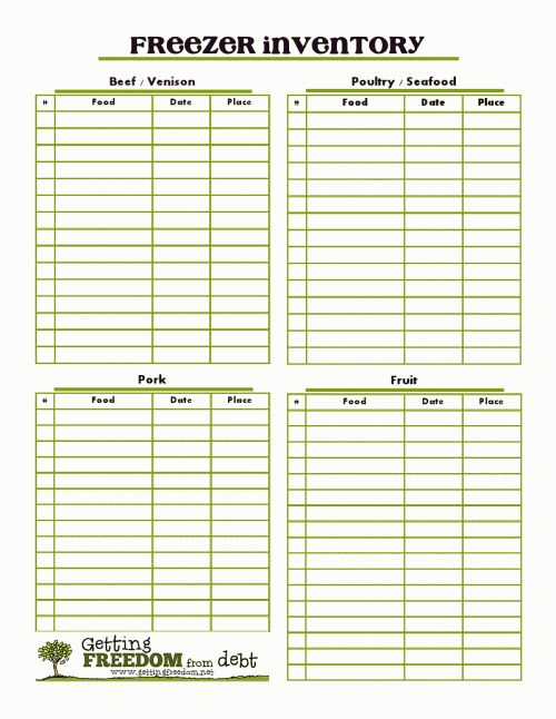 freezer printable keep track of freezer contents