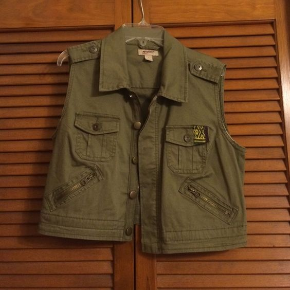 Arizona Crop Vest Army green cropped best with cross stitch detail on the front pocket Arizona Jean Company Jackets & Coats Vests
