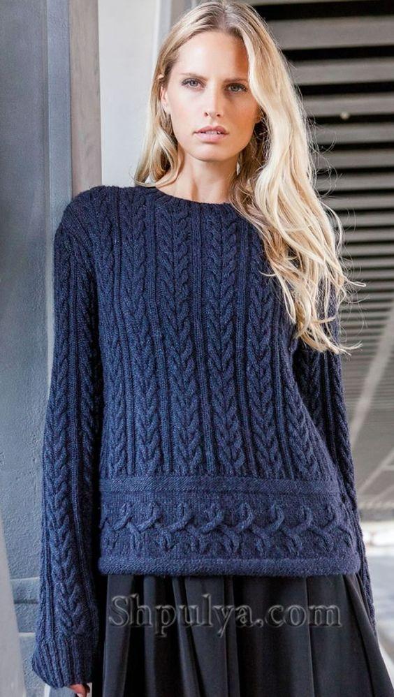 Синий пуловер с переплетениями - SHPULYA.com