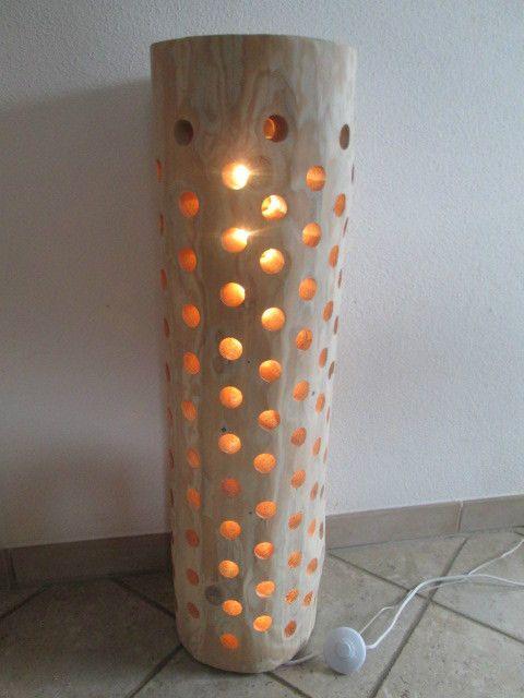 Nr.121, Baumstammlampe, Deckenfluter 27cm x 27cm x 91cm,  TWO IN ON  176 LÖCHER!