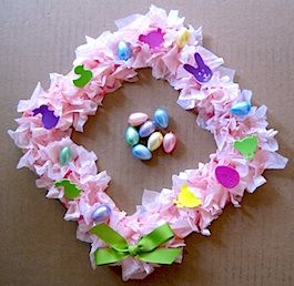 Paper Plate Easter Wreath ~This fun paper plate Easter wreath is so easy a toddler can make it with a bit of help from an adult