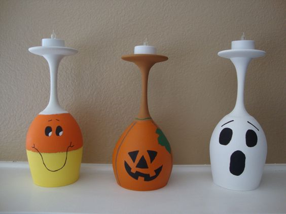 Pumpkin, Ghost, Candy Corn, Set of 3 Wine Glass Candle Holders, Halloween Primitive Country Decor, Tea Light Candle Holder Hand Painted by DeannasCraftCottage on Etsy