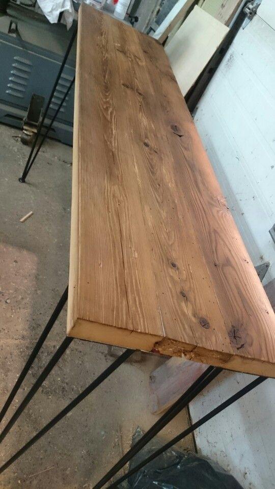 Table console en bois de silo, finition lacqué ultra mat  Création rustik bo