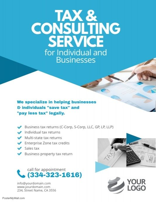 Tax Consulting Services Flyer Poster Template Tax Consulting Income Tax Return Tax Return