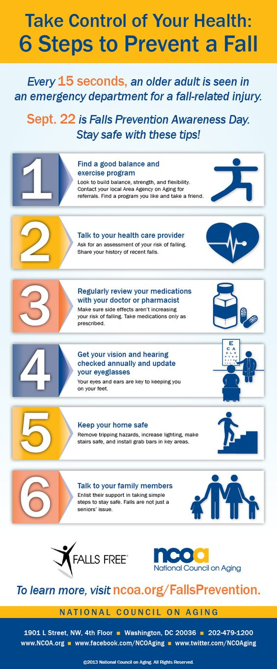 Take Control of Your Health: 6 Steps to Prevent a Fall. Distribute this on Falls Prevention Awareness Day - September 22, 2013.
