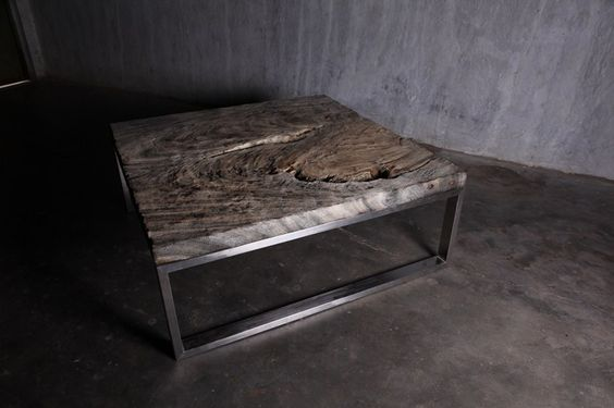 Low square wooden coffee table STONE AGE - Jatra Design