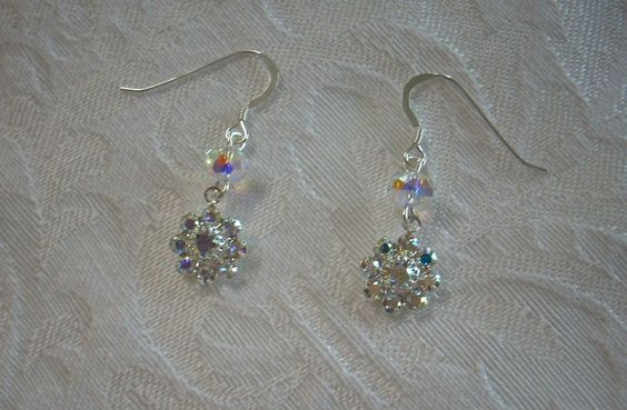 """Earrings Made with Swarovski Crystals 1""""1/2"""